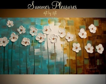 "SALE Oil Landscape painting Abstract Original Modern 48"" palette knife signature floral oil  impasto oil painting by Nicolette Vaughan Horne"