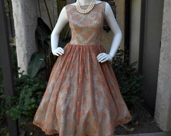 Vintage 1960's Apricot Lace Dress - Size 8