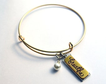 Breathe bracelet - gold plated charms - expandable bracelet