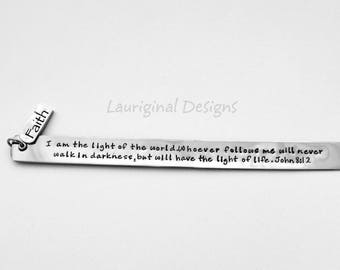 Personalized bookmark - stainless steel - any text that fits! - See charm and font choices in all photos!