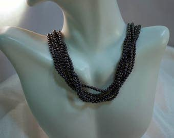 """3.4mm 6 Strand Hematite Bead 17"""" Necklace with 14kt Gold Clasp"""