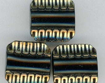 Set of 3 Vintage Square Jet Black Glass Sewing Buttons ~ 7/16 inch 11mm ~ Classic Art Deco Design accented with Gold Luster