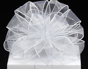"""5YDS Pure White 1-1/2""""W x Organza Fabric Sheer Ribbon Wired Edge (FREE SHIPPING!)"""