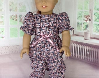 Reserved for Penny. 18 inch doll patriotic rompers. Fits American Girl Dolls. Stars and Stripes design.