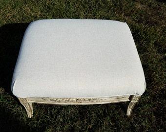 Stunning Solid Wood Custom Shabby Foot Stool Coffee Table Ottoman White Coastal  Distressed