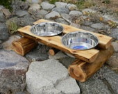 RESERVE FOR JANI - Log dog diner - pet feeder - elevated feeder - pet bowl