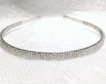 Silver Beaded Headband Tiara - Alice Hair Band - Sparkle Collection (Limited Edition) HB5SSL-4