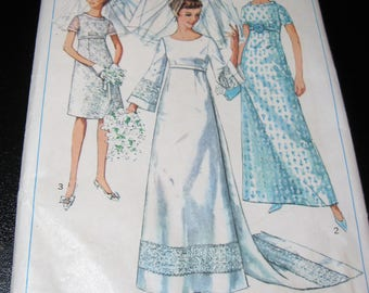 Simplicity 7084 Wedding Gown with detachable Train and Bridesmaid's Dress Miss Size 16 Bust 36 inches Sewing Pattern 1967 unused