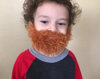 Handmade Crochet kids Beard Only, dettached beard, fuzzy Beard, choose any color you like, Irish beard, orange beard, ginger beard, red bear