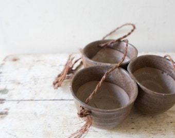 Vintage Ceramic Cup Tripple Planter Vintage Pottery  - Brown Handmade Cup Vintage Planter Vase Hanging Pot