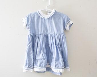 Vintage Baby Dress Vintage Blue Embroidered Checkered Dress Size 2T-3T Small Toddler Blue Dress Boat dress Sailor Dress