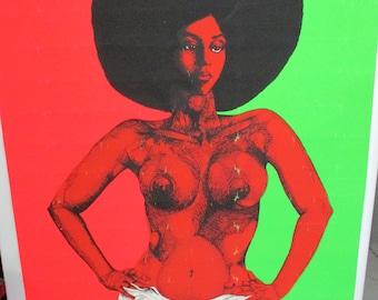 """Original Rare """"Afro-Dite"""" MATURE Blacklight Poster"""