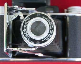 1940's Vintage Pho-Tak Foldex Bellows- 20 type Rangefinder  camera With Case And Flash unit Clean!