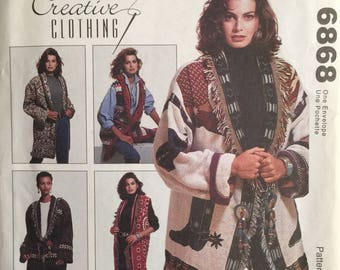 McCall's Crafts 6868, Size One Size, Misses' Unlined Jacket and Unlined Vest Pattern, UNCUT, Vintage 1993, Creative Clothing, Afghan Jacket