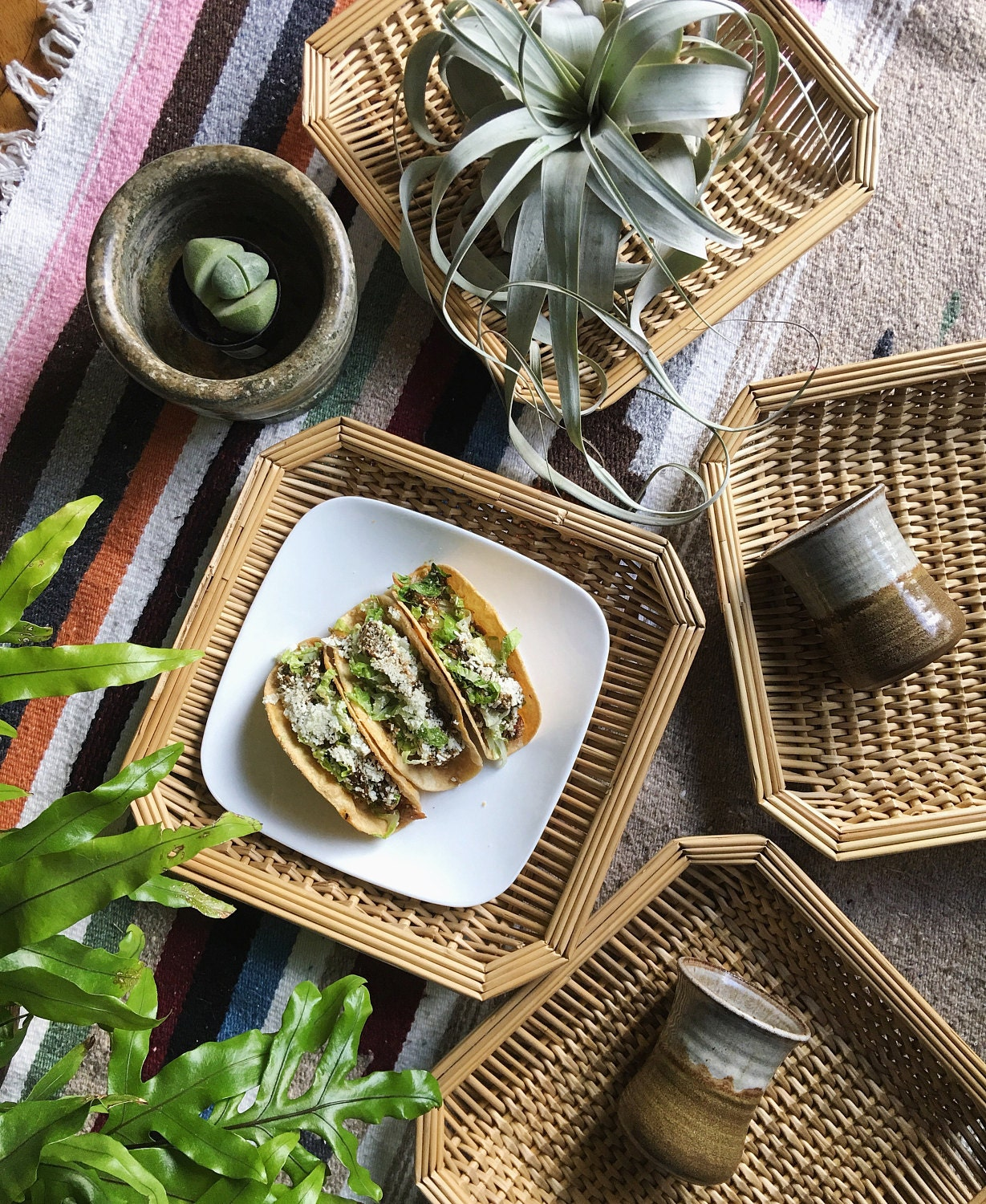 Square wicker place mats