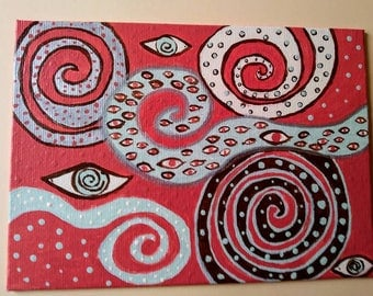 "Original 5x7 Folk Art Painting/""Into the Mystic"" /Swirls/Eyes/Dots"