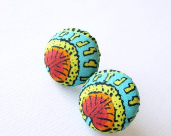 Fabric covered button earrings in red, acid green and turquoise