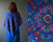 Cobalt Blue Russian Floral Shawl Scarf Wrap