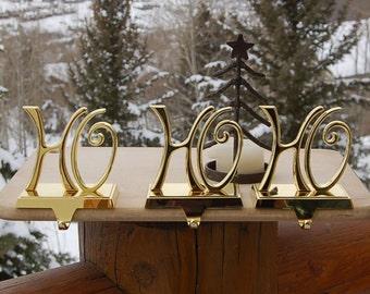 Brass Christmas Stocking Holders Ho Ho Ho Set of 3 Pottery Barn