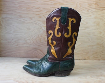 Size 7  / Fancy Western BOOTS / Vintage Cowboy Boots / Women's 90's Shoes