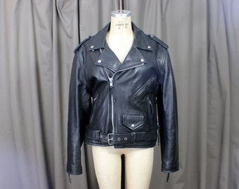 Motorcycle Jacket / Black Leather / Vintage Coat with Zippers and Buckles / Women's / Men's  Large Leather Outerwear
