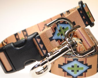 """Southwestern Collar and Leash Combination - 1"""" Width"""