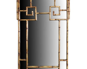 LaBarge Gold Gilt Metal Bamboo Mirror Greek Key Design Luxurious Designer Home Furnishings Decor