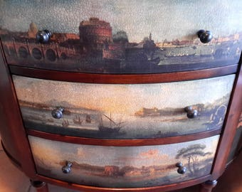 Theodore Alexander Accent Occasional Table Classical Landscape Crackled Decoupage 3 Drawer Side Pull Outs  Layaway Available