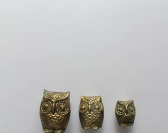 Vintage Brass Owl Trio Figurines 1970s