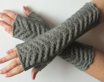 "Fingerless Gloves Long Gray Long Fingerless Gloves Gray 11"" Arm Warmers Mittens Soft Acrylic Wool"