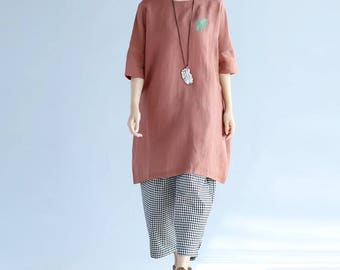 summer large size round collar Long T-shirt short sleeved gown in Brick red/ black