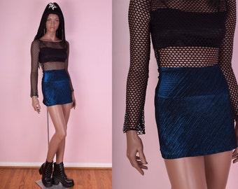 90s Black and Blue Metallic Mini Skirt/ Small/ 1990s