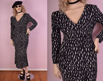 80s Black and White Long Sleeve Dress/ Medium/ 1980s