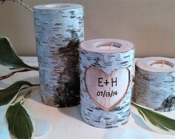 Birch tree candle set - Wedding candle - Sweetheart Table - Tree branch candle - Anniversary candle - Heart candle - Unity - Birch candle
