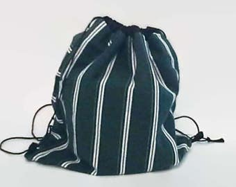 Green and White Striped Upcycled Men's Shirt Drawstring Backpack, Sustainable Cinch Sack