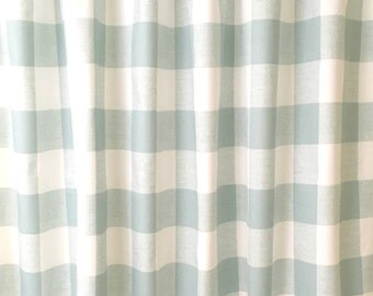 Light Snowy Blue and White Buffalo Check Curtains  Rod Pocket  84 96 108 or 120 Long x 24 or 50 Wide,