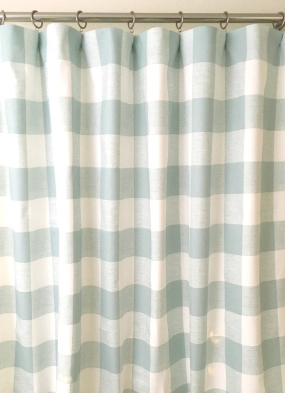 light snowy blue and white buffalo check curtains rod pocket. Black Bedroom Furniture Sets. Home Design Ideas