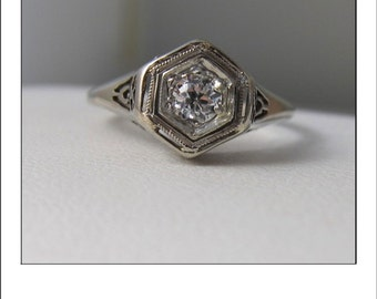 Antique Art Deco 14k  .21 ct. Old European Cut Diamond Filigree Engagement Ring
