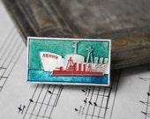 "Vintage Soviet Russian badge,pin.""Icebreaker Lenin, Cruiser Aurora"""