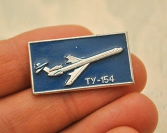 "Vintage Soviet Russian badge,pin.""Soviet Russian Aircraft TU-154"""