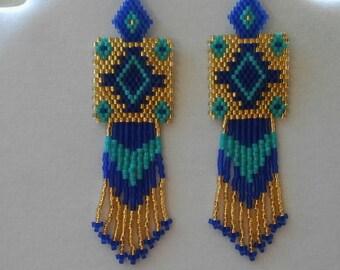 Native American Style Beaded Rug Earrings Turquoise Gold and Dark Blue Southwestern, Boho, Peyote, Brick Stitch, Gypsy, Great Gift