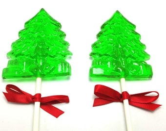12 CHRISTMAS HOLIDAY TREE Lollipops with Satin Ribbon - Stocking Stuffers, Holiday Favors