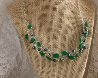 Wire Crochet Necklace Green Faceted Quartz Blue Freshwater Pearls Aquamarine Peridot Sterling Silver Copper Wire Handcrafted Clasp