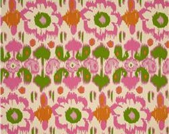 Two  26 x 26  Custom  Decorative   Pillow Covers -  Rio Ikat Floral - Gumdrop - Pink Green Orange