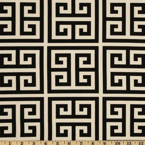 "Two 96"" x 50""  Custom   Curtain Panels -  Black/Natural Greek Key"