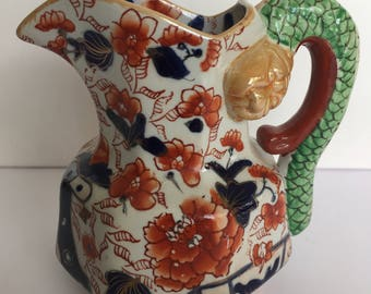 Unusual 19th C.  Mason's Ironstone Snake Handle Pitcher