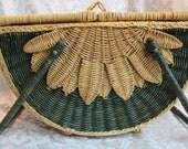 Antique Wicker Basket - Lidded Basket - Wicker Sewing Box - Picnic Basket