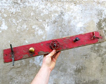 Industrial Driftwood Coat Rack Hooks with Vintage Factory Fittings