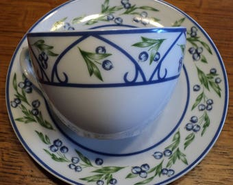 Two Sets Teacup & Saucer Limoges Porcelain Blueberries on Stem w/ Leaves