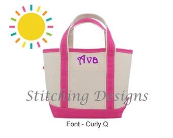 Monogrammed tote bag, Personalized Tote bag, Canvas tote, Flower girl Tote, Kid's tote bag, Boat Tote Bag, Monogram tote - SMALL - 11 Colors